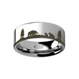 Animal Landscape Scene Bears Bear Cubs Engraved Flat Tungsten Wedding Band