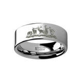 Animal Landscape Scene Five Deer Stag Hunting Engraved Flat Tungsten Wedding Band