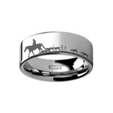 Animal Landscape Scene Fox Hunt Hunting Engraved Flat Tungsten Wedding Band