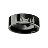 Animal Landscape Scene Reindeer Deer Stag Flat Black Tungsten Wedding Band