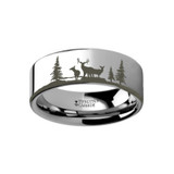 Animal Landscape Scene Reindeer Deer Stag Engraved Flat Tungsten Wedding Band