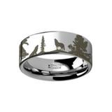 Animal Landscape Scene Wolf Wolves Engraved Flat Tungsten Wedding Band