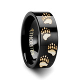 Animal Track Bear Paw Print Engraved Wedding Band Black Tungsten Wedding Band
