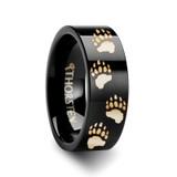 Animal Track Bear Paw Print Engraved Wedding Band Black Tungsten Wedding Band