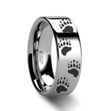 Animal Track Bear Paw Print Wedding Band Engraved Flat Tungsten