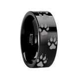 Animal Track Wolf Print Wedding Band Engraved Black Tungsten