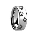 Animal Track Wolf Print Wedding Band Engraved Flat Tungsten