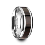 Arcane Tungsten Wedding Band with Ebony Wood Inlay