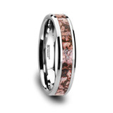 Archean Tungsten Wedding Band with Pink Dinosaur Bone Inlay