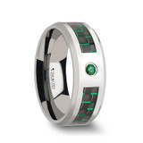 Aspen Tungsten Wedding Band with Black/Green Carbon Fiber Inlay & Emerald