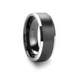 Aston Black Brushed Center Tungsten Wedding Band