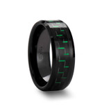 Atilus Black Ceramic Wedding Band with Black & Green Carbon Fiber Inlay