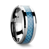 Augustus Tungsten Wedding Band with Blue Carbon Fiber Inlay
