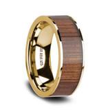 Aurelian Flat 14k Yellow Gold Men's Wedding Band with Koa Wood Inlay