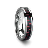 Aurelius Tungsten Wedding Band Inlay with Black & Red Carbon Fiber Inlay