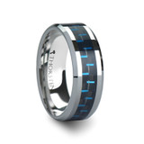 Auxilius Tungsten Wedding Band with Black & Blue Carbon Fiber Inlay