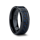 Avitus Black Ceramic Wedding Band with Blue & Black Carbon Fiber Inlay