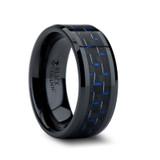 Avitus Black Ceramic Wedding Band with Blue & Black Carbon Fiber Inlay