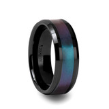 Barracuda Black Ceramic Wedding Band with Blue/Purple Color Changing Inlay
