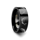 Bass Fish Jumping Sea Print Pattern Flat Black Tungsten Wedding Band