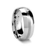 Bellator Domed Tungsten Wedding Band with Brushed Stripe