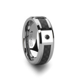 Bentley Tungsten Wedding Band with Black Carbon Fiber Inlay Inlay & Black Diamond