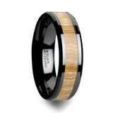 Biltmore Black Ceramic Wedding Band with Ash Wood Inlay