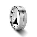 Boss Domed Brushed Tungsten Wedding Band with Center Groove