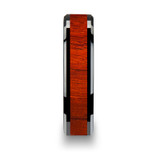 Bosulu Black Ceramic Wood Wedding Band with Padauk Wood Inlay