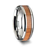 Brunswick Tungsten Wedding Band with Black Cherry Wood Inlay