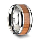 Brunswick Tungsten Wedding Band with Black Cherry Wood Inlay