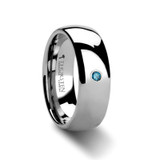 Buckingham Domed Blue Diamond Tungsten Wedding Band