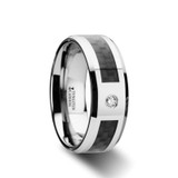 Cayman Tungsten Wedding Band with Black Carbon Fiber Inlay & Diamond