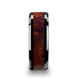 Cerise Black Ceramic Wedding Band with Redwood Inlay