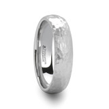 Chandler Domed Hammered White Tungsten Wedding Band