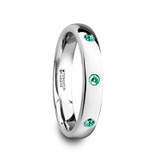 Chloe Domed Tungsten Wedding Band with 3 Green Emeralds