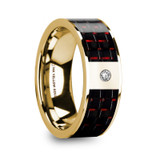 Christos 14k Yellow Gold Men's Wedding Band with Black/Red Carbon Fiber Inlay & Diamond