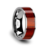 Claymore Flat Tungsten Wedding Band with Padauk Wood Inlay