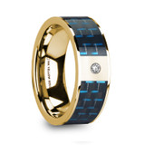Cletus 14k Yellow Gold Men's Wedding Band with Black/Blue Carbon Fiber Inlay & Diamond