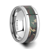 Commando Tungsten Wedding Band with Military Style Jungle Camouflage Inlay