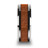 Congo Tungsten Wedding Band with African Sapele Wood Inlay