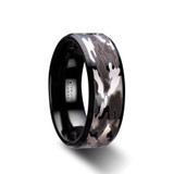 Conquest Black Tungsten Wedding Band with Black & Gray Camouflage Pattern