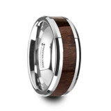 Dacian Tungsten Wedding Band with Carpathian Wood Inlay