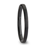 Daisy Brushed Flat WoBlack Ceramic Men's Wedding Band