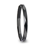 Davina Diamond Faceted WoBlack Ceramic Men's Wedding Band