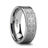Deacon Flat Grooved Tungsten Wedding Band with Engraved Cross Pattern