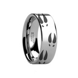 Deer Print Animal Track Engraved Flat Tungsten Wedding Band
