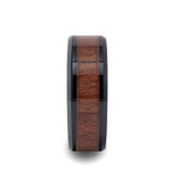 Denali Black Ceramic Wedding Band with Rosewood Inlay