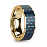 Denys 14k Yellow Gold Men's Wedding Band with Black & Blue Carbon Fiber Inlay