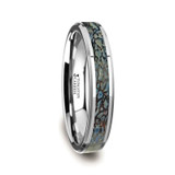 Devonian Tungsten Wedding Band with Blue Dinosaur Bone Inlay